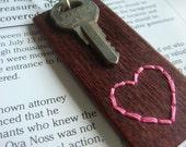 Valentine--Embroidered Wood Pendant with Vintage Key