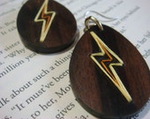 Lightning Bolt Teardrop Embroidered Wood Earrings