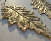 Large Brass Leaf Earrings