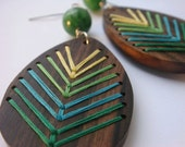LAKE Embroidered Wood Chevron Earrings Ebony with Green and Yellow