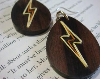 Lightning Bolt Teardrop Embroidered Wood Earrings