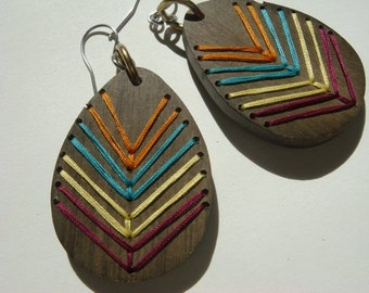 AZTEC---Embroidered Wood Chevron Earrings-FALL COLORS