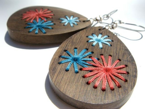 Embroidered Wood Earrings--Salmon Sky Blue and Turquoise