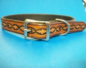 Oval Patterned Leather Dog Collar