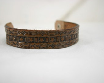 Leather Bracelet with Scrollwork and Stars