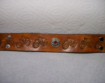 Leather Bracelet with Motorcycles, Concho and Center Crystal