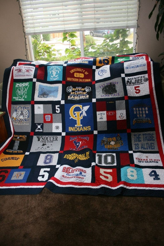 Tshirt Quilts Custom memory blanket with Minky Dot backing - deposit