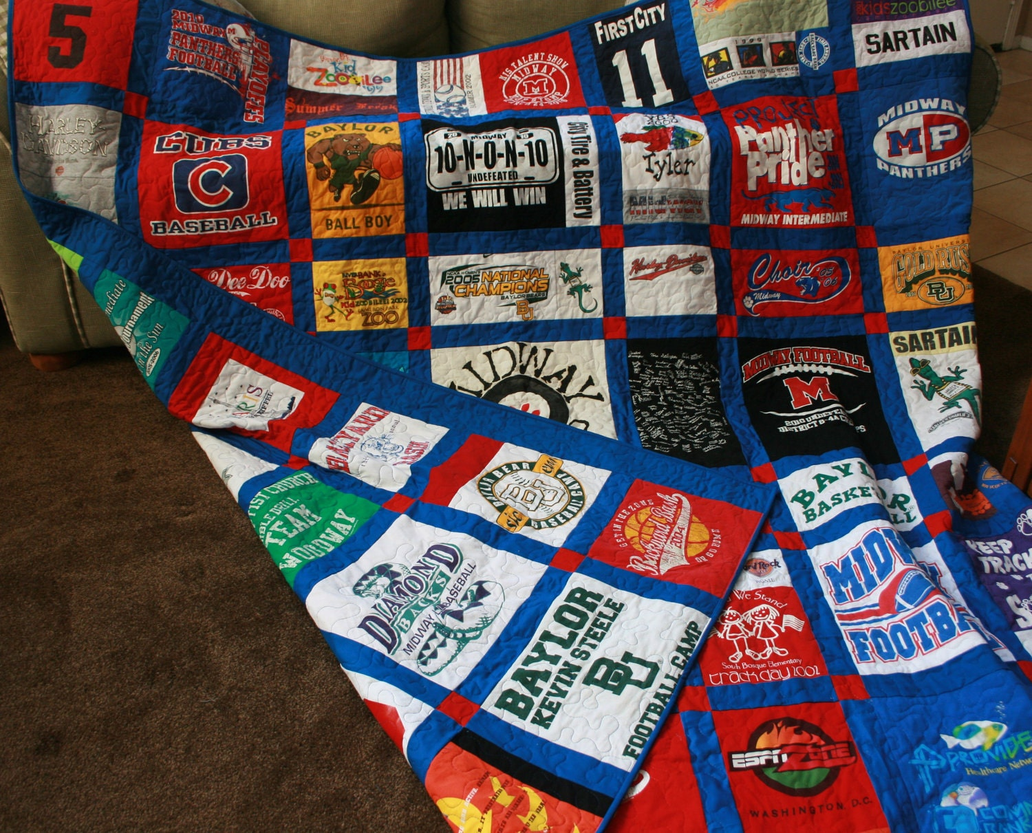 Custom Double Sided Tshirt Quilt with free shipping Deposit : pictures of tshirt quilts - Adamdwight.com