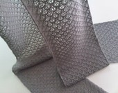 Light grey knitted lace scarf, alpaca / silk blend