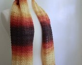 Knit lace scarf, multicolor purple pink orange yellow, mohair / acrylic blend