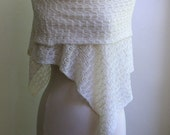 Knitted white lace shawl, wedding wrap, wool / tussah silk blend