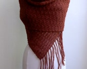 Knitted lace shawl with fringe, burnt sienna / red brown color, alpaca / silk blend
