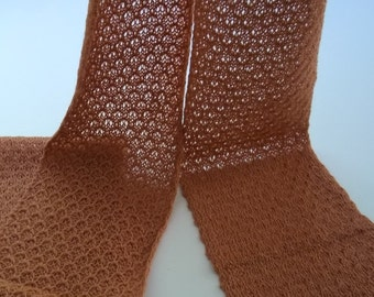 Copper orange, lace scarf, delicate and light-weight, alpaca / silk blend