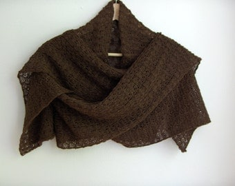 Knitted brown lace shawl / wrap / scarf, alpaca silk blend