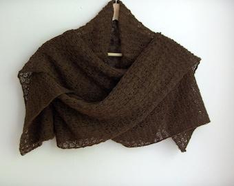 Knitted brown lace shawl / wrap / scarf, alpaca silk blend
