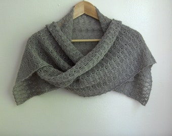 Silver grey, hand knit lace scarf / small wrap, alpaca / silk blend