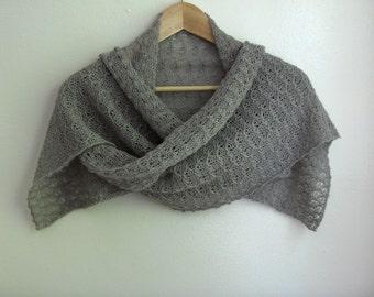 Silver grey, hand knit lace scarf / small wrap, alpaca / silk blend