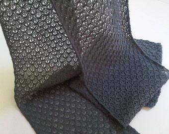 Knitted grey lace scarf, alpaca silk blend