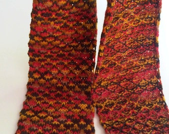 Knitted wool, multicolored brown red yellow, lace winter scarf