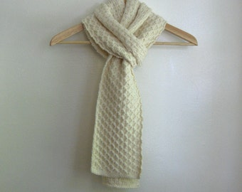 Knit scarf, chunky lace, cream colored aran, 100 percent wool
