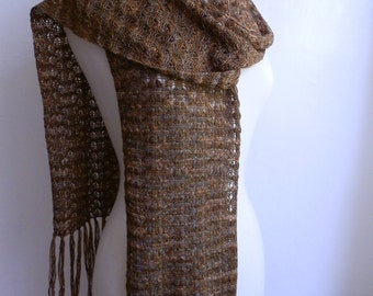 Knitted lace scarf with fringe, hand dyed multicolored olive green blue gold, merino / silk blend