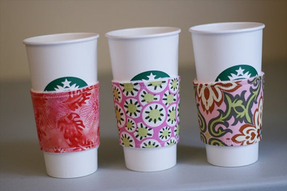 Coffee Cup Cozy Set of 3 - Pink