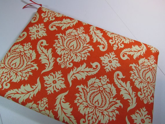 MacBook Pro Case 13 inch Sleeve Padded Cover- Aviary 2 Damask Saffron