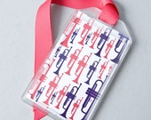 Trumpet Instrument ID Tag or Luggage Tag for Musicians - Pink and Purple