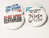 Oboe Ninja plus three music and band one inch pinback buttons or magnets - OBO 2