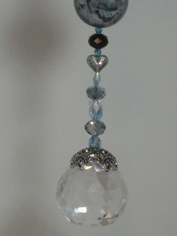 Prism SunCatcher with Blue Sky Jasper Focal and 40mm Faceted Lead Crystal
