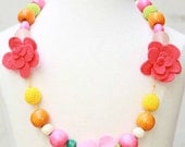 Gorgeous girls hand crafted rosette necklace