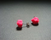 READY TO SHIP Handmade Hot Pink Faceted Geo Stud Earrings