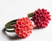 IndianRed and Salmon Chrysanthemum on Antiqued Brass - adjustable - set of 2