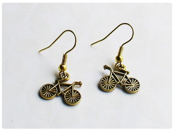 Bicycle - Gold Plated Dangle Earrings