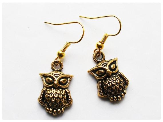 Owl dangle earrings - gold plated hooks LAST PAIR