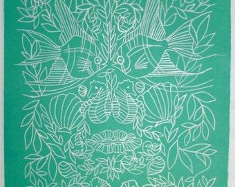 fish face green line art linocut