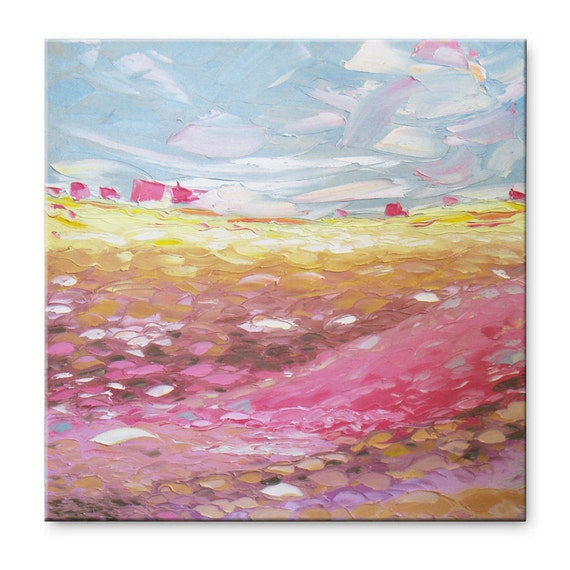 Rose valley FREE SHIPPING Original Impasto Oil Painting on Canvas Palette Knife - by SOLOMOON - gallery fine art ready to hang 23x23