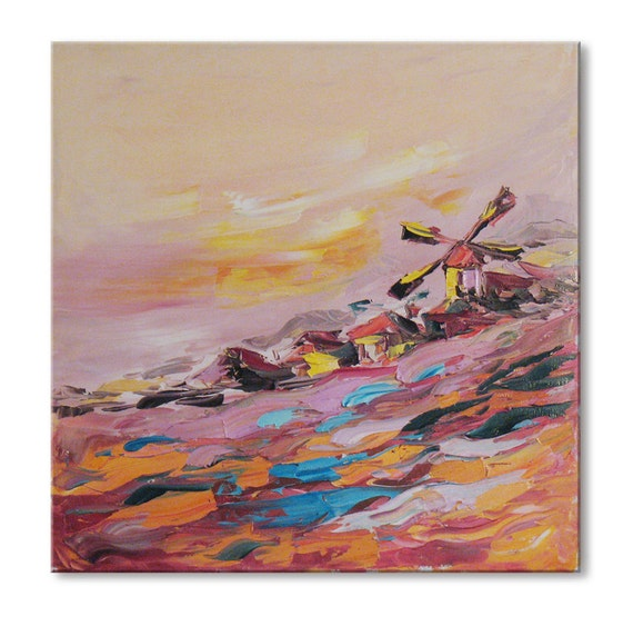 Pink mill  -  FREE SHIPPING - Original Oil Painting Canvas Palette Knife - by SOLOMOON - ready to hang 16x16 impasto painting painted sides