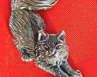 Siberian Cat Pendant Sterling Silver