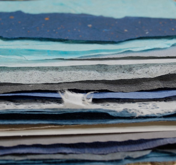 Cool Blues Handmade Paper Pack No2