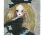 "Hibiscus Print 8"" x 10""  - black dress . a lovely, fair-haired girl"