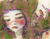 "HIBISCUS Original Painting - ""being my friend"" , bird"