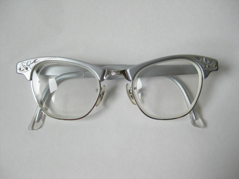 Vintage 50s 60s art craft aluminum silver cat eye frames mint for Art craft eyeglasses vintage