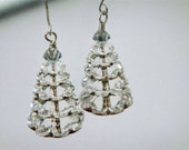 Snowy Christmas Tree Earrings- Swarovski Crystal and Sterling Silver