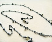 Tiny Raw Diamonds Short Necklace- diamonds and oxidized sterling silver