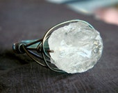 Crystal Rectangle RIng Any Size- crystal quartz and oxidized sterling silver