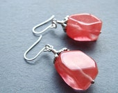 Cherry Punch Earrings- cherry quartz and sterling silver