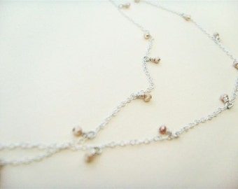 Champagne Tiny Pearl Double Necklace- pearl and sterling silver