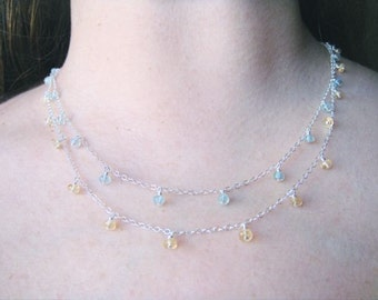 Tiny Aquamarine and Citrine Double Necklace
