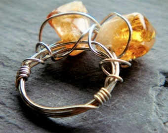 Citrine Double Point RIng Sz 7- citrine and sterling silver